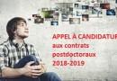 Appel clos_ candidature pour les contrats post-doctoraux 2018-2019